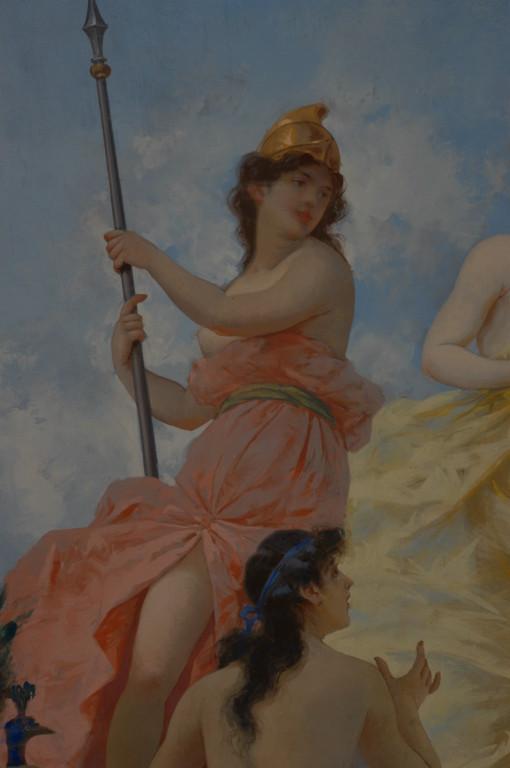 Particolare: Minerva, dea della guerra, con elmo e armata di lancia.