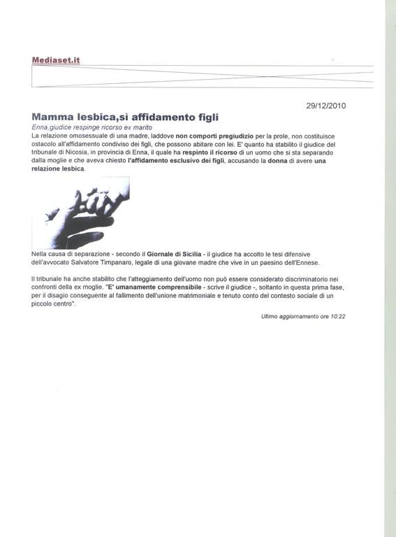 Mediaset.it - 29/12/2010 - Mamma lesbica, sì affidamento figli