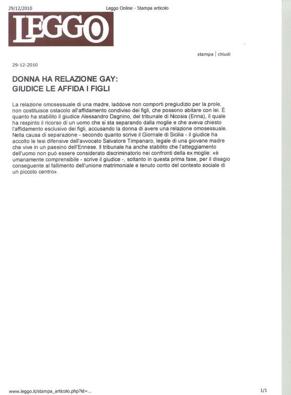 LEGGO - 29/12/2010 - DONNA HA RELAZIONE GAY: GIUDICE LE AFFIDA I FIGLI.