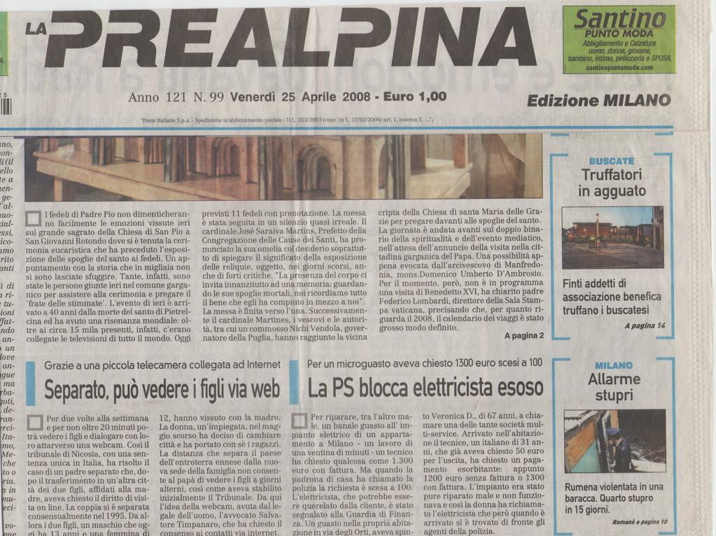 """PREALPINA - Venerdì 25 aprile 2008-""""Separato può vedere i figli via web""""."""
