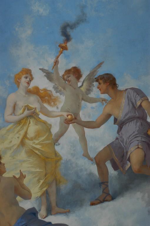 Particolare: Paride consegna a Venere il pomo  Sullo sfondo: Il messaggero degli dei.