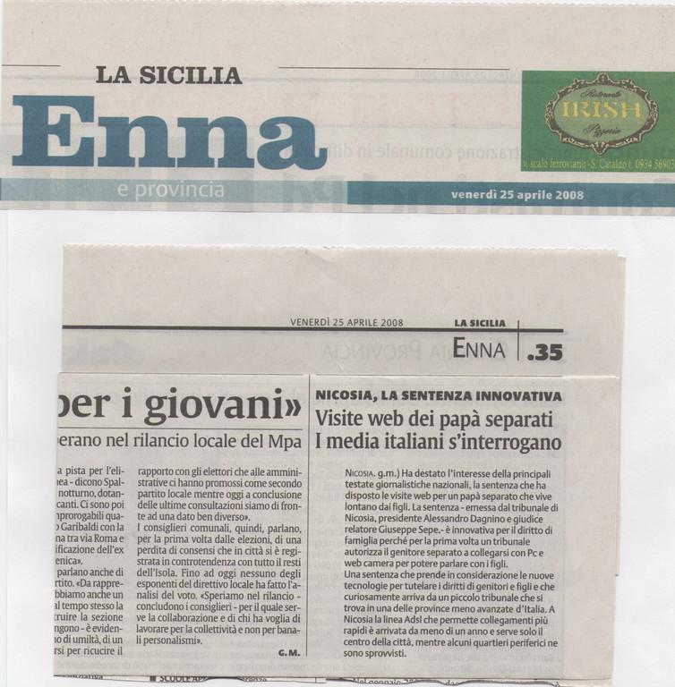 """LA SICILIA-Venerdì 25 aprile 2008-""""Nicosia, la sentenza innovativa"""" """"Visite web dei papà separati""""."""