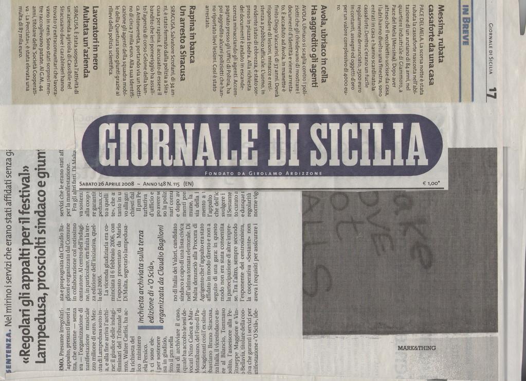 GIORNALE DI SICILIA-Sabato 26 aprile 2008-L'uomo, oltre ai normali incontri coi figli, che vivono con la madre in un'altra città, potrà <<vedere>> i ragazzini via web due volte a settimana per venti minuti.