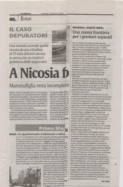 LA SICILIA-Giovedì 1° maggio 2008-Nicosia: visite web. Una nuova frontiera per i genitori separati.
