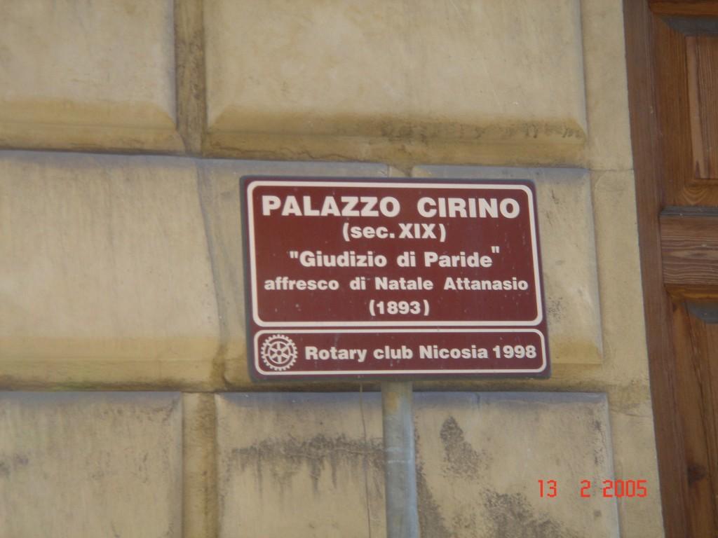 Segnale turistico con indicazione degli affreschi (Rotary 1998): Palazzo Cirino - Via Fratelli Testa, 53 - Nicosia