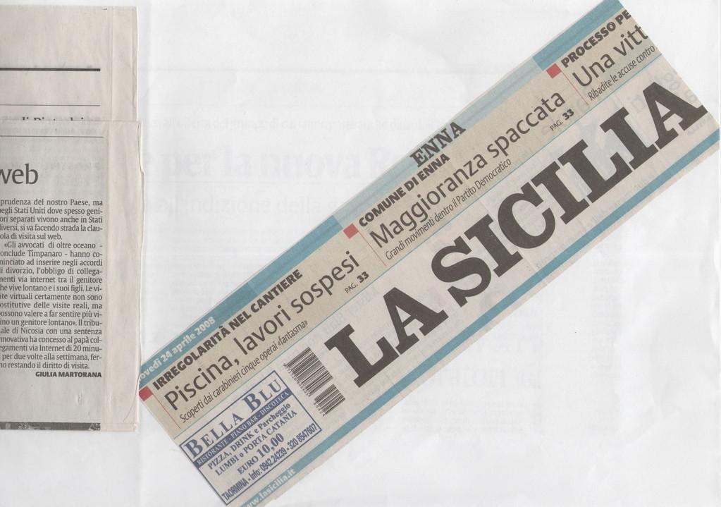 """LA SICILIA - Giovedì 24 aprile 2008 """"Innovativa sentenza a Nicosia"""""""