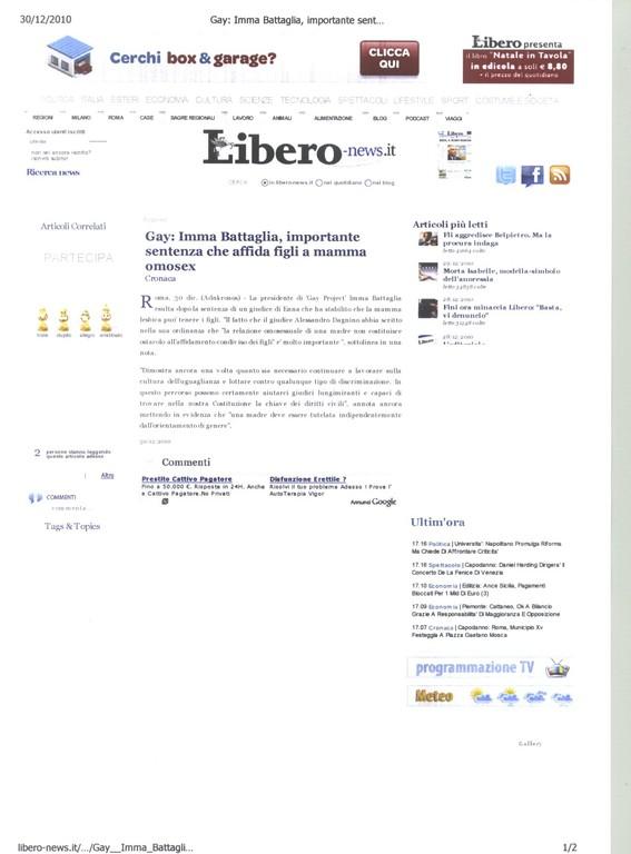 LIBERO-news.it - 30 dicembre 2010 - Gay: Imma Battaglia, importante sentenza che affida figli a mamma omosex