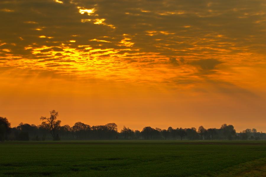 Sonnenaufgang Anfang April 2019 in Merfeld.