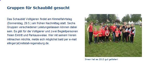 aus der Homepage von Voltigieren Bayern