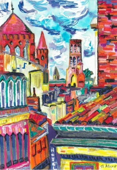 Toulouse et ses trois tours (Pastel gras et encre)