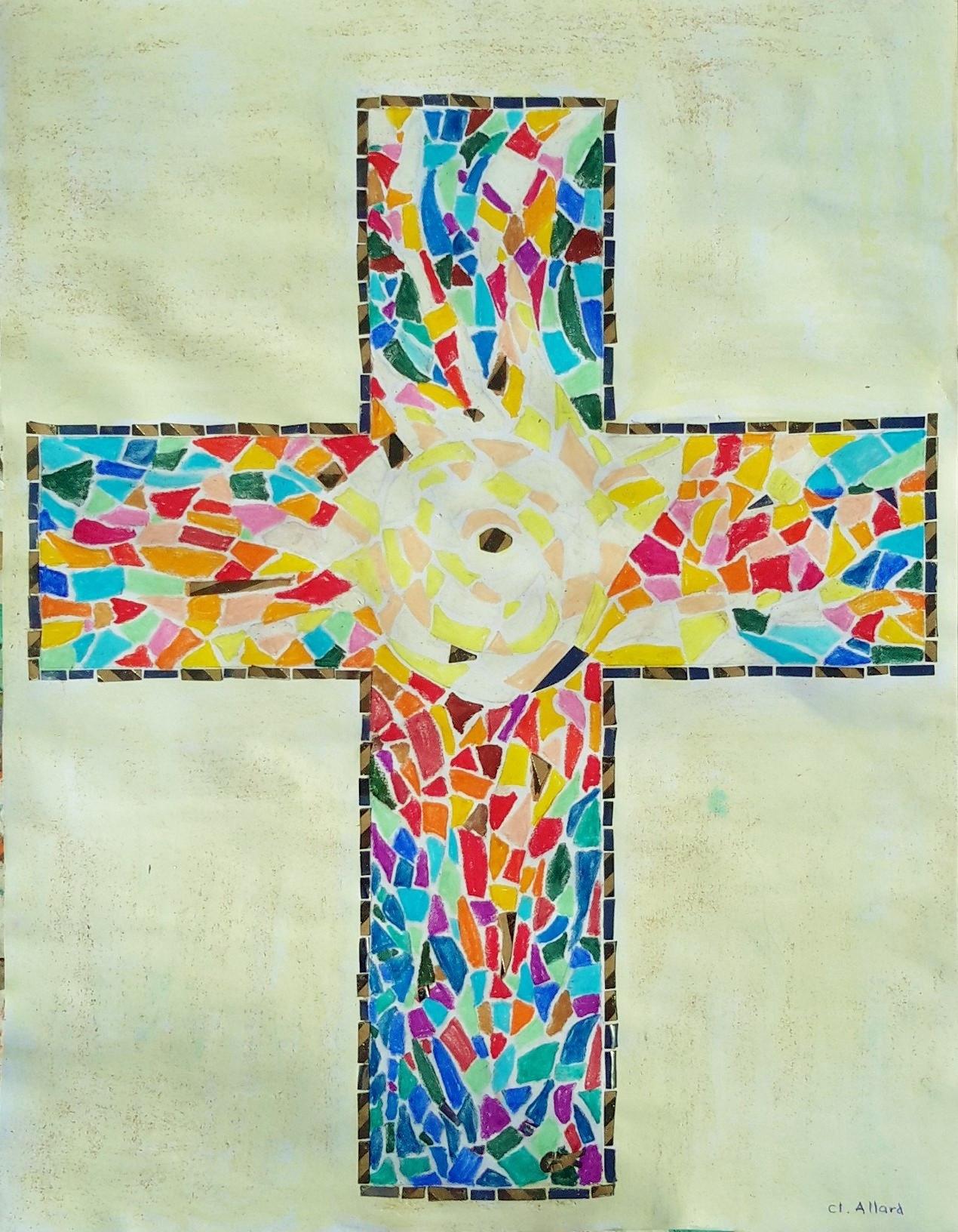 Maquette pastel gras pour le projet de la Croix en mosaïque, chapelle du petit collège du Caousou (Toulouse)