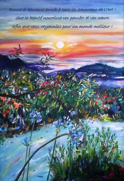 Coucher de soleil sur la baie de Sant Ambroggio (Balagne, Corse), été 2018, peinture à l'huile