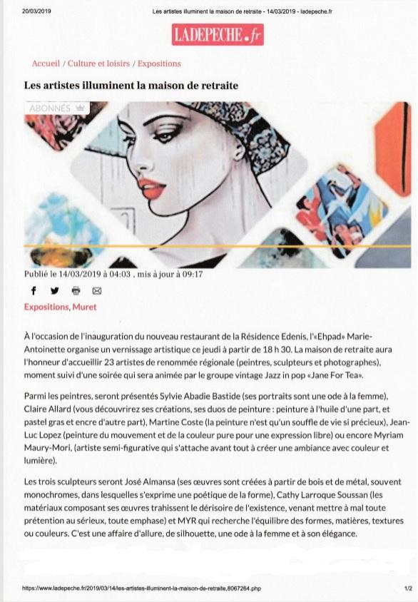 """Claire Allard expose ! dans la Dépêche du midi """"Les artistes illuminent la maison de retraite"""""""