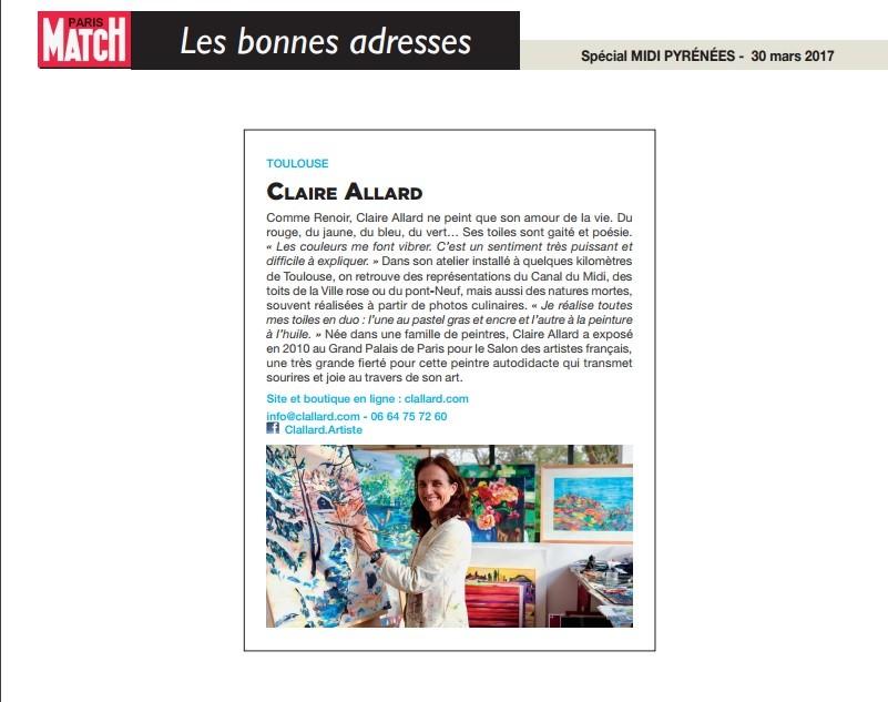 Clallard dans le Paris Match spécial Midi Pyrenees - 30 mars 2017