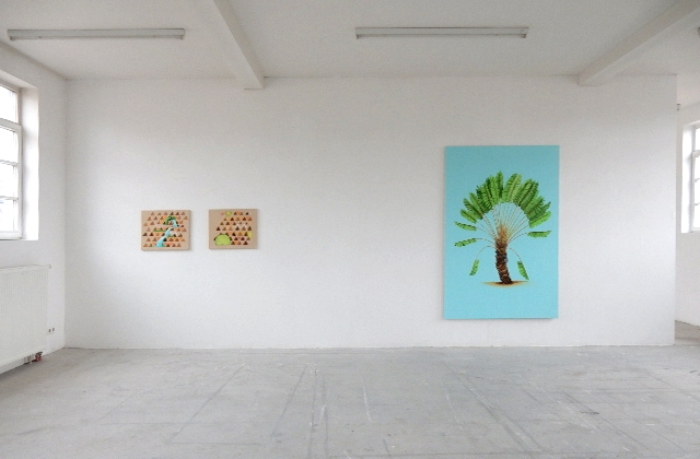 Hommage to the water Part I and II, Palm trees Part I, Ausstellungsansicht Wilhelmstr. e.V. Stuttgart, 2015