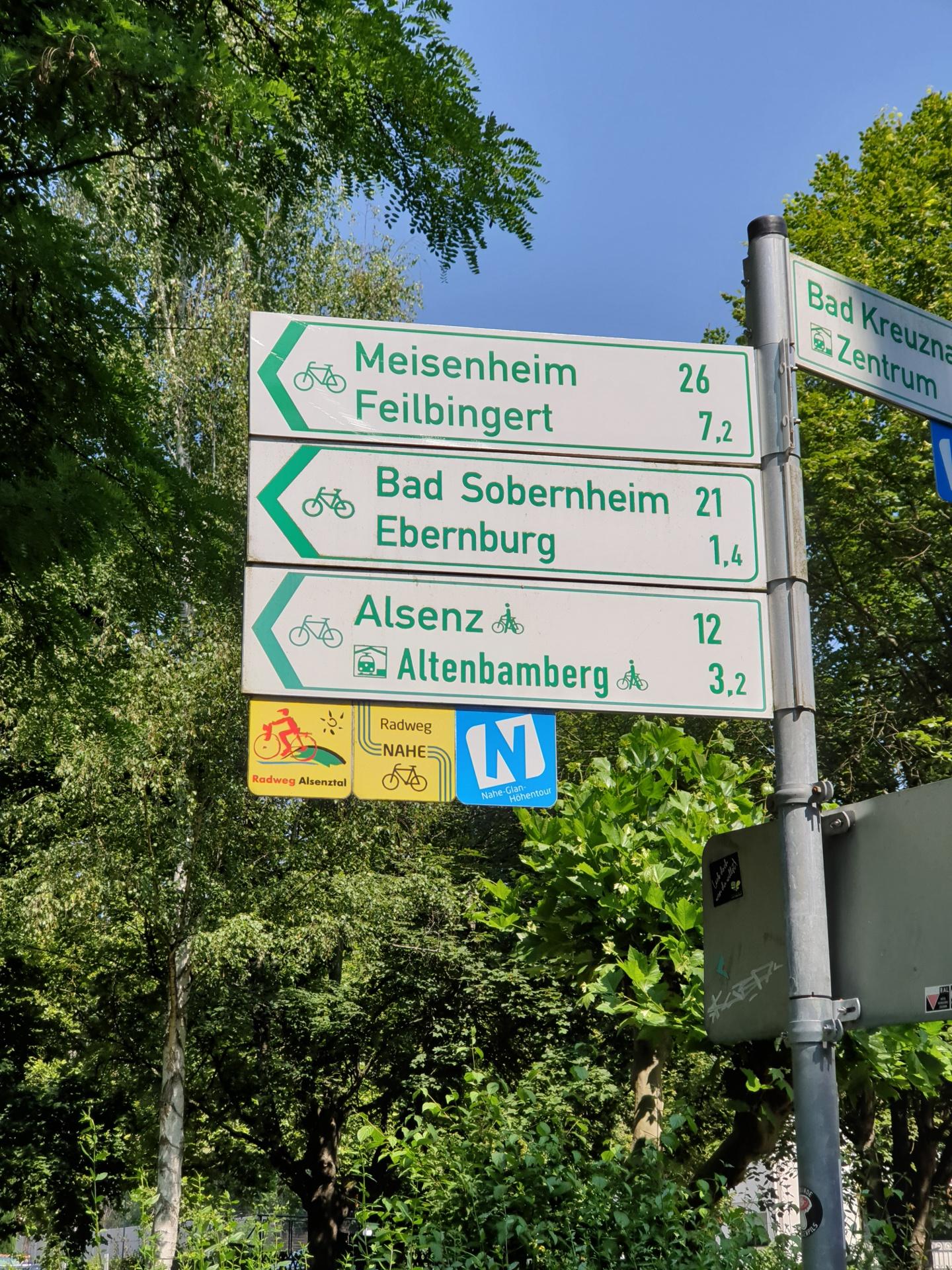 Wegweiser Nahe-Radweg