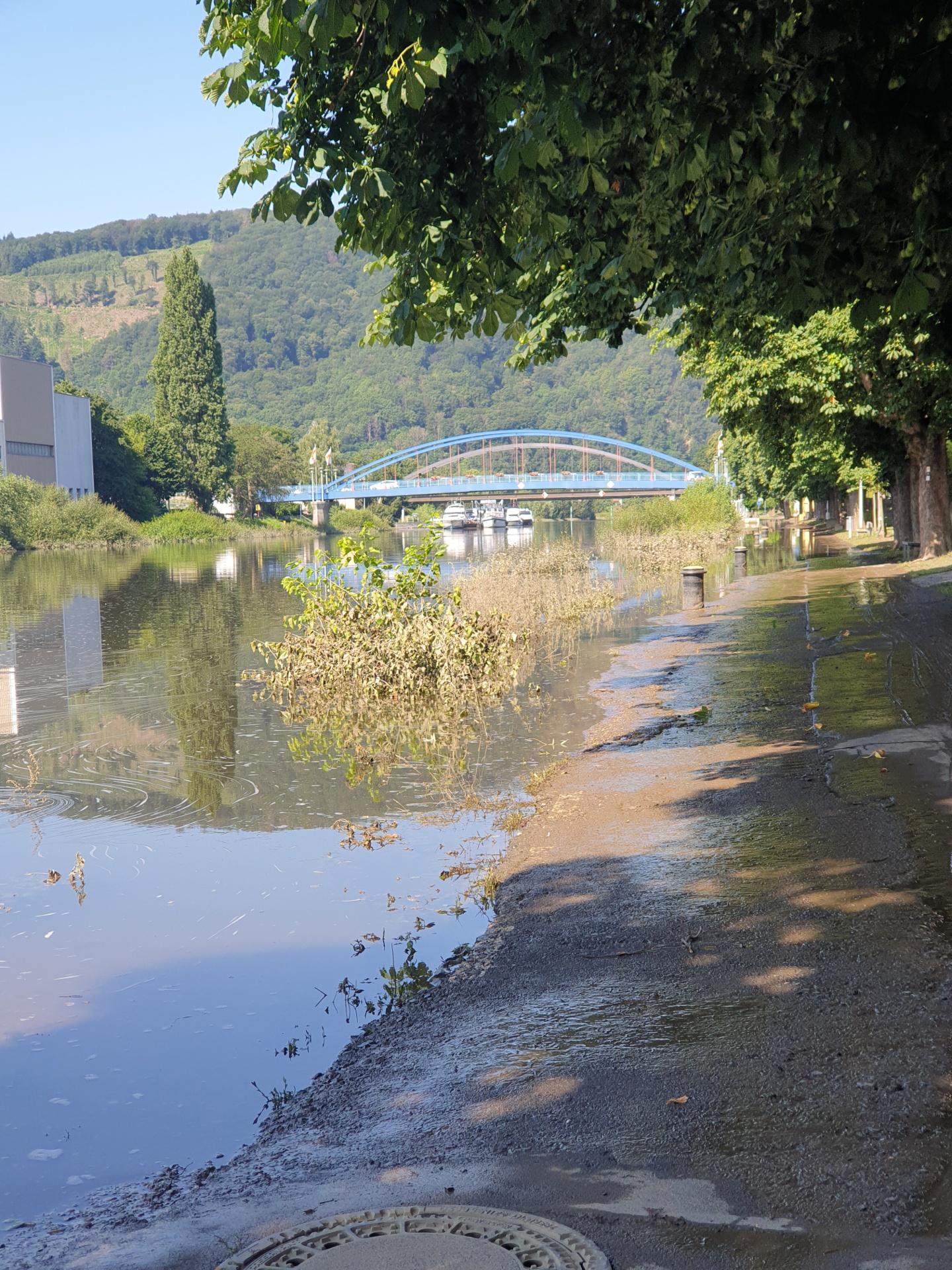 Überfluteter Lahnradweg