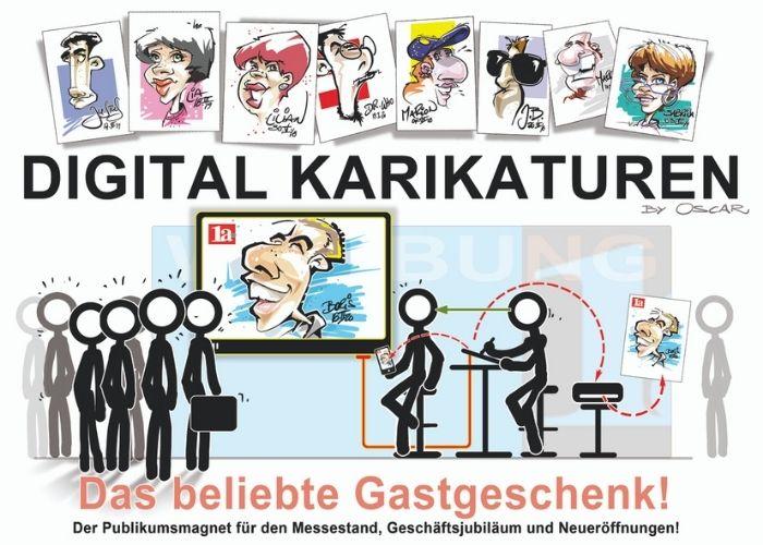 Schnellzeichner in Berlin ist das Highlight. Oscar stellt sein Talent regelmäßig auf Galas, Firmenveranstaltungen, Messen und anderen Events unter Beweis. Schnellzeichner & KariKarikaturist in Berlin kommt auch zu Hochzeiten und Geburtstagen.