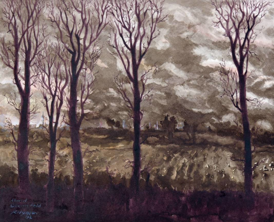 """Abend überm Feld"" (Norfbach-Nievenheim), Sepia, 40 * 32 cm / Evening over the field, sepia"
