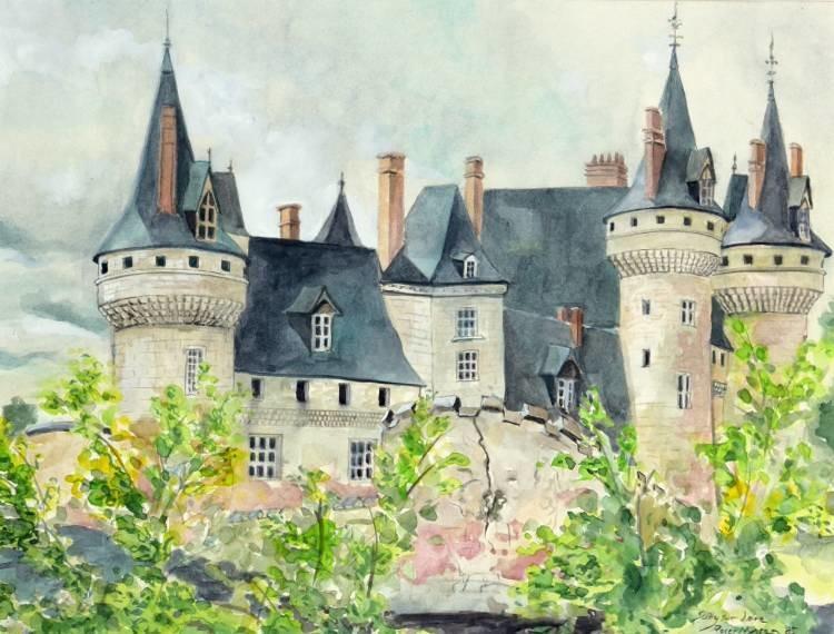"""Sully sur Loire"", Aquarell, 43 * 33 cm, Privatbesitz"