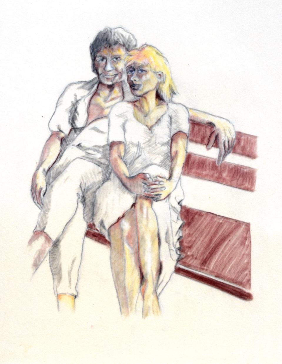 """""""Paar auf einer Bank"""", Kreide, 42* 32 cm / Couple on a bench, chalk"""