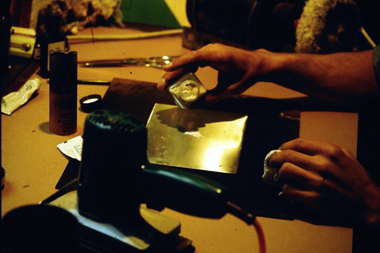 Das Polieren des Druckstocks