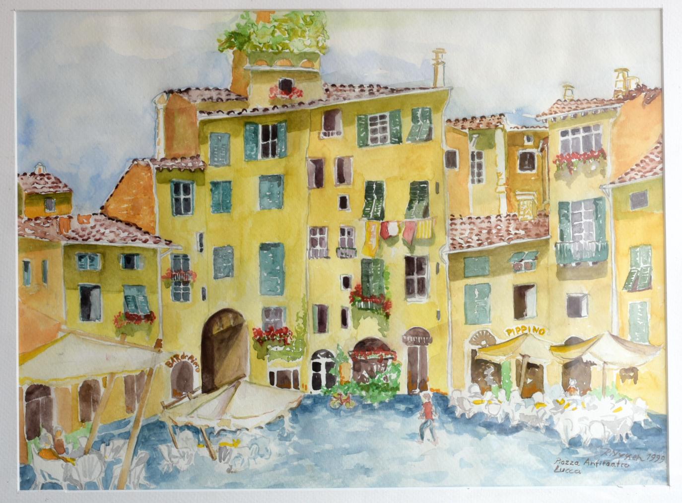 """""""Piazza Anfiteatro-Lucca"""", Aquarell, 38 * 28 cm"""
