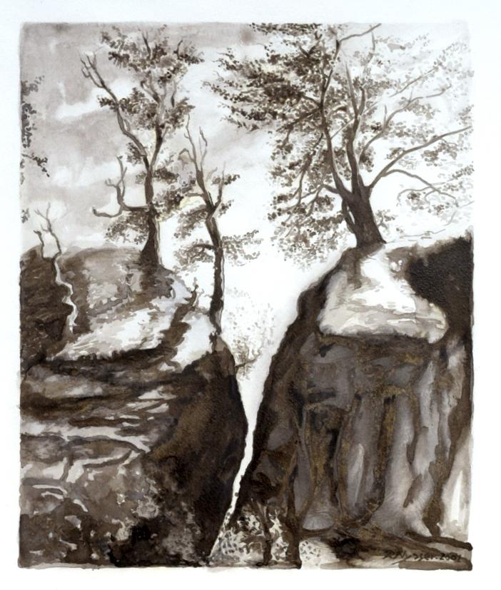 """Landschaft im Elbsandsteingebirge"", Sepia, 30 * 36 cm , Scenery at the Elbe Sandstone Mountains, sepia"