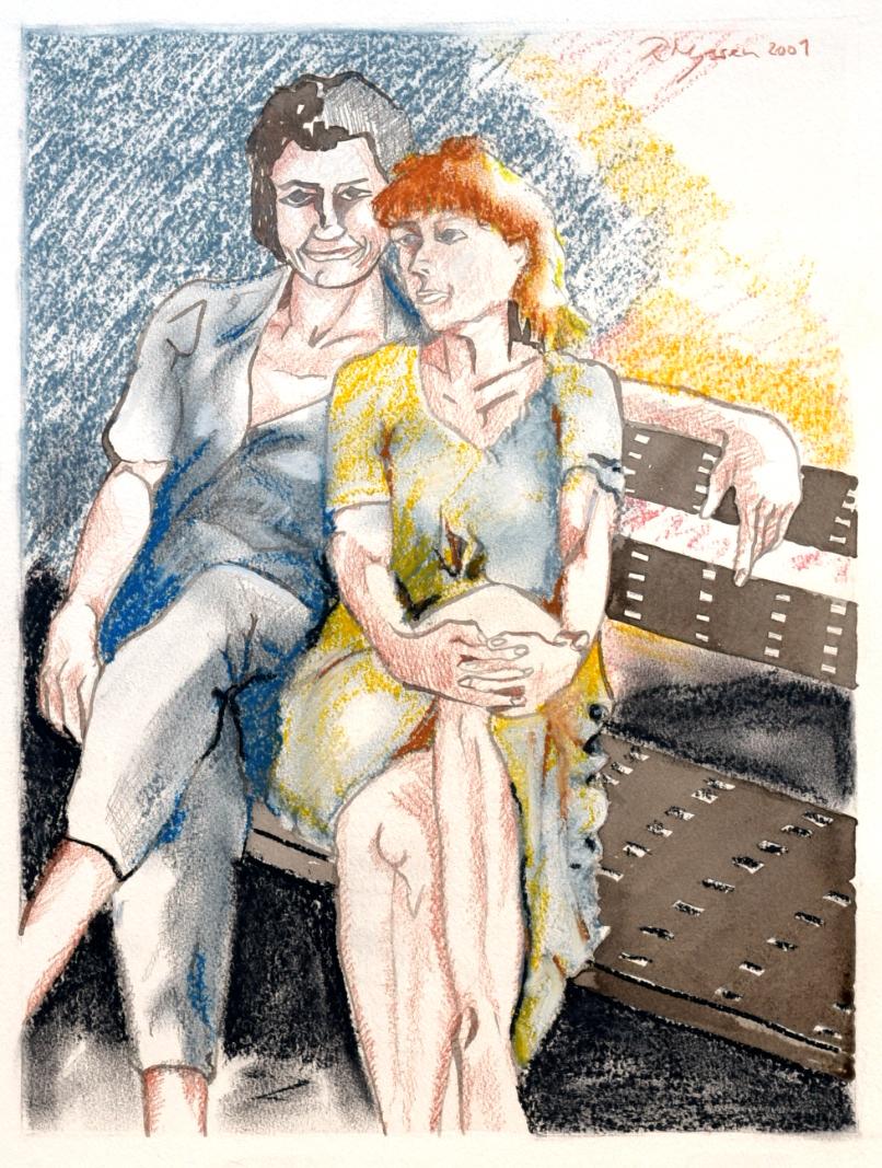 """""""Paar auf einer Bank"""", Kreide und Sepia, 42* 32 cm / Couple on a bench, chalk and sepia"""