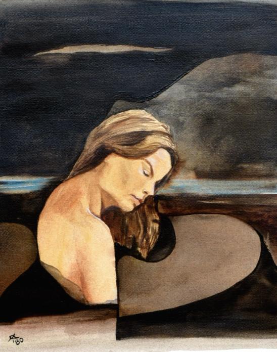 """""""Die Weichmacherin verschließt ihre schönen Augen"""", Öl-Lavierung, 28 * 33 cm / The softiening closes her beautiful eyes, oil on paper"""
