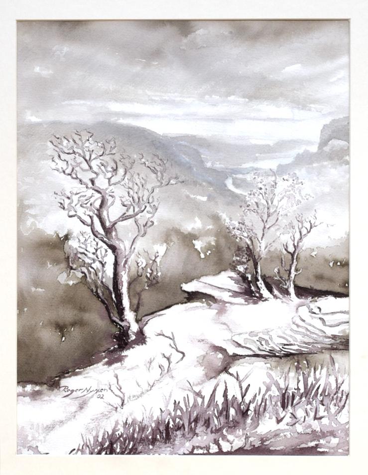 """Blick auf die Elbe"", Sepia, 32 * 42 cm"