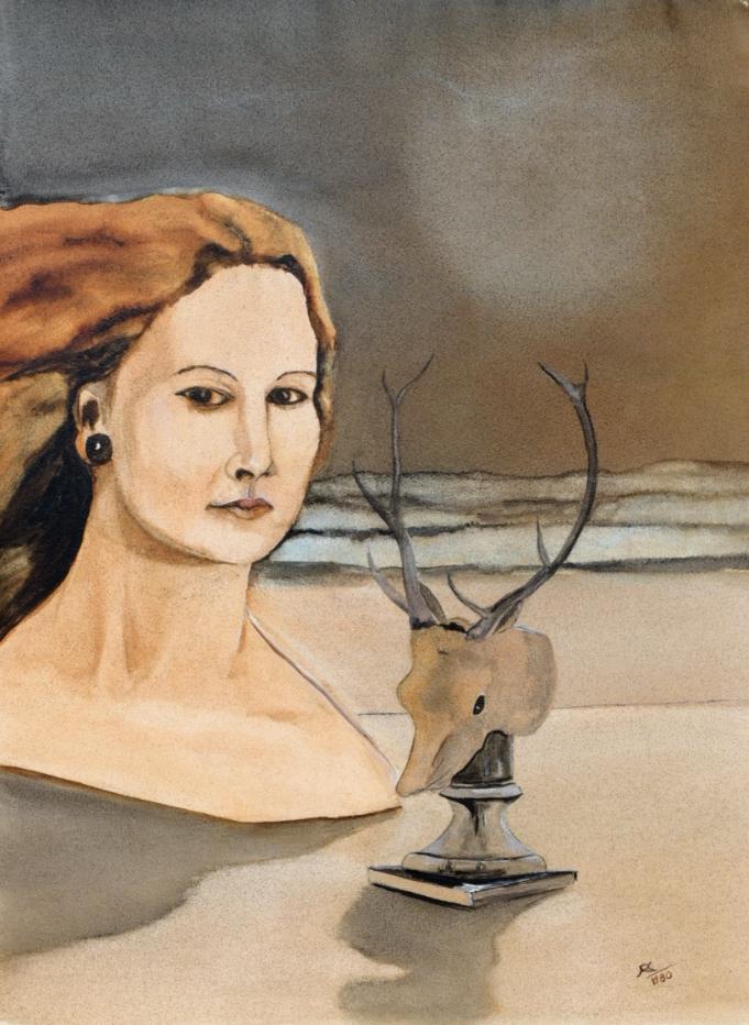 """""""Evolutin der Geschlechter"""", Öl-Lavierung, 34 * 45 cm, Privatbesitz / Evolution of gender, oil on paper"""