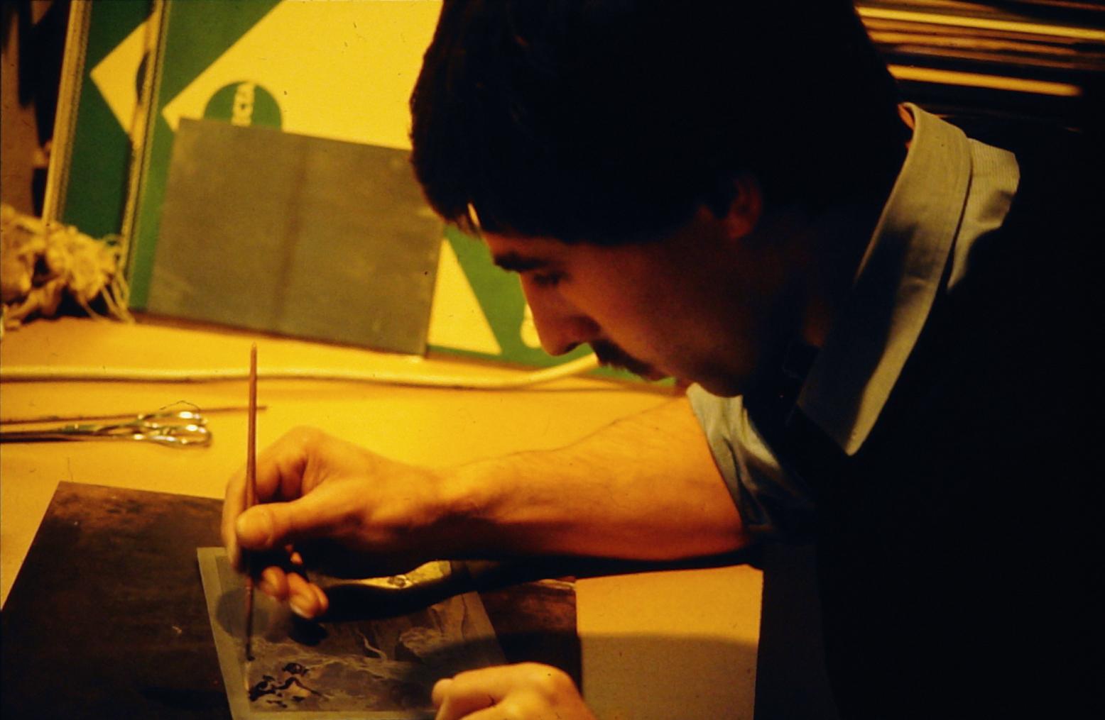 Arbeit am Motiv (Abdecken mit Asphaltlack)