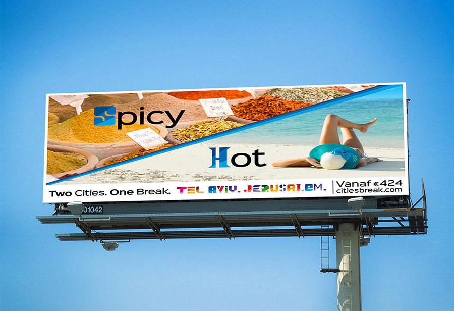 "Israel Kampagne, STAATL. ISRAELISCHES VERKEHRSBÜRO, Großfläche ""Spicy/Hot"""