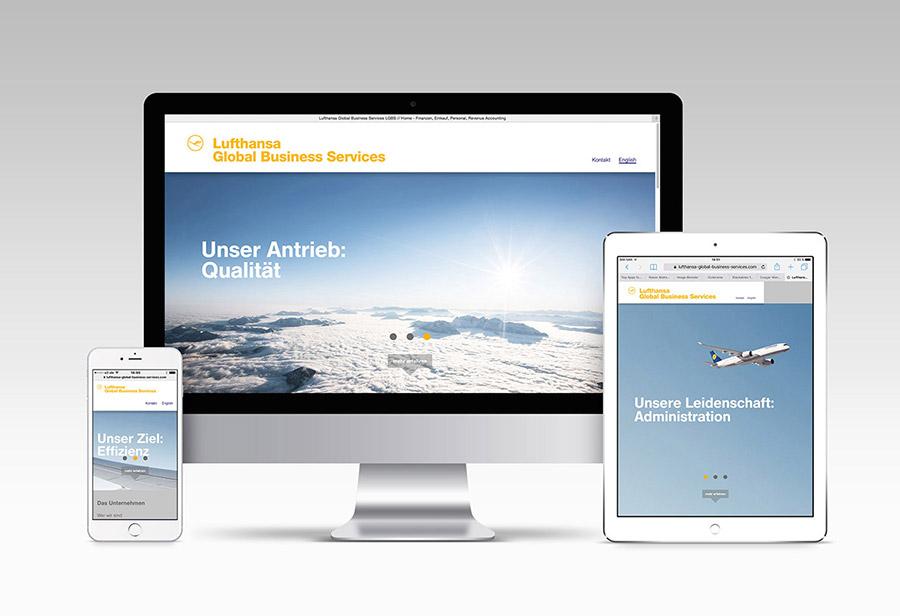 "Responsive Webcard, LUFTHANSA GLOBAL BUSINESS SERVICES, ""Unser Antrieb: Qualität."""