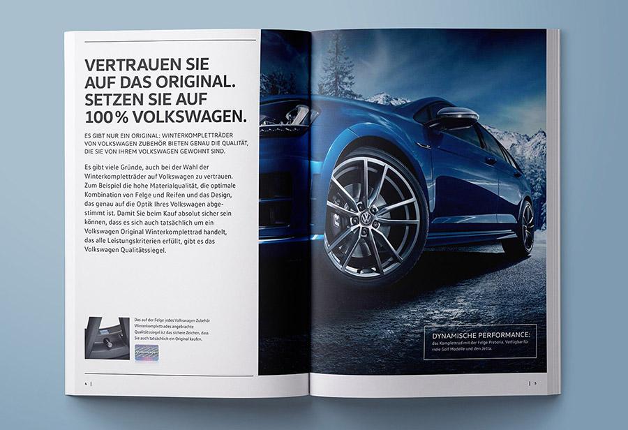 """Winterkomplettrad-Katalog 2017/2018, VW ZUBEHÖR, """"Vertrauen Sie auf das Original."""""""