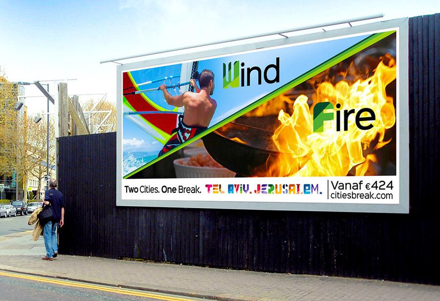 "Israel Kampagne, STAATL. ISRAELISCHES VERKEHRSBÜRO, Citylight ""Wind/Fire"""