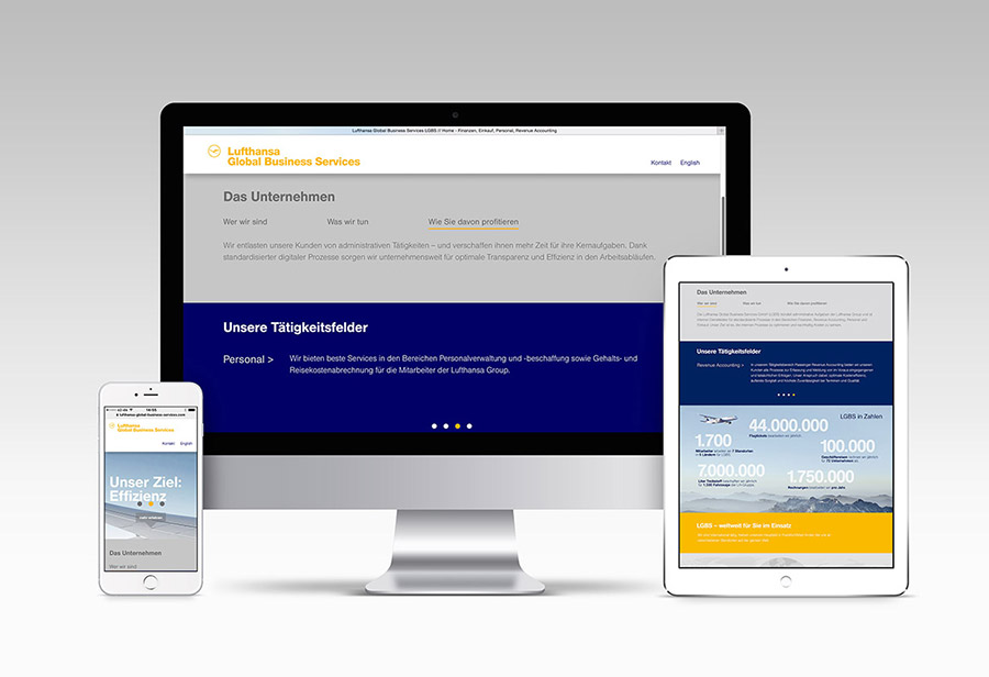 "Responsive Webcard, LUFTHANSA GLOBAL BUSINESS SERVICES, ""Das Unternehmen."""