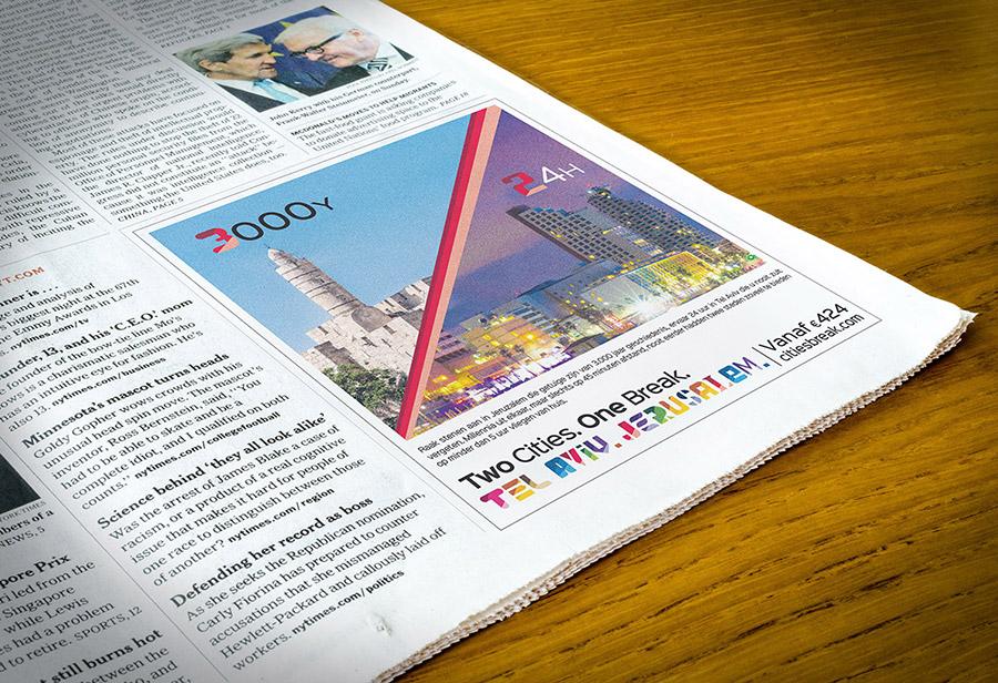 """Israel Kampagne, STAATL. ISRAELISCHES VERKEHRSBÜRO, Newspaper Anzeige """"3000Y/24H"""""""