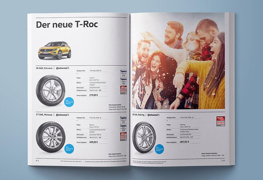 """Winterkomplettrad-Katalog 2017/2018, VW ZUBEHÖR, """"Der neue T-Roc."""""""