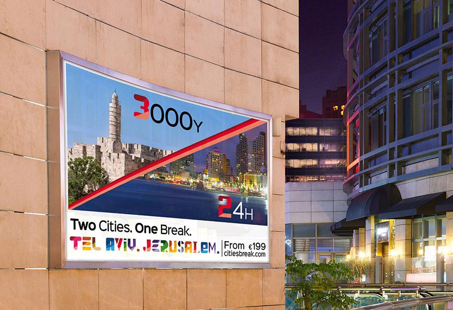 "Israel Kampagne, STAATL. ISRAELISCHES VERKEHRSBÜRO, Leuchtdisplay ""3000Y/24H"""