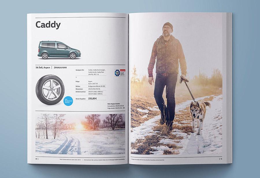 "Winterkomplettrad-Katalog 2017/2018, VW ZUBEHÖR, ""Caddy."""