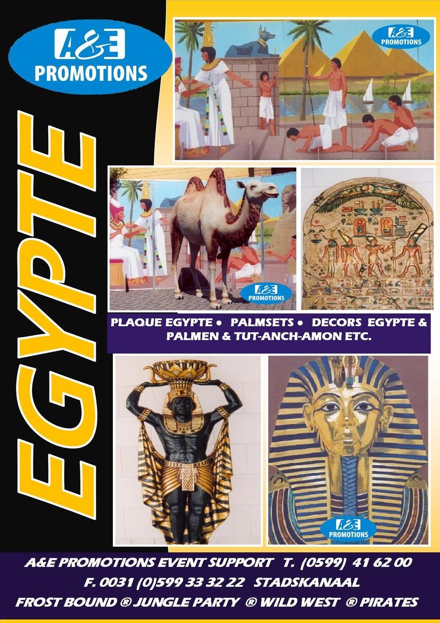 EGYPTISCHE REKWISIETEN VERHUUR (PLAQUETTE, NUBISCHE WATERDRAGER, KAMELEN, PALMBOMEN ETC.)