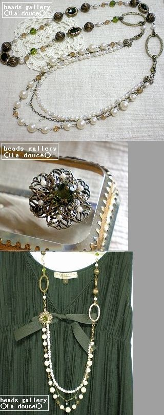 オリーブグリーンの3WAYネックレス ブローチ ロングネックレス 帯飾り