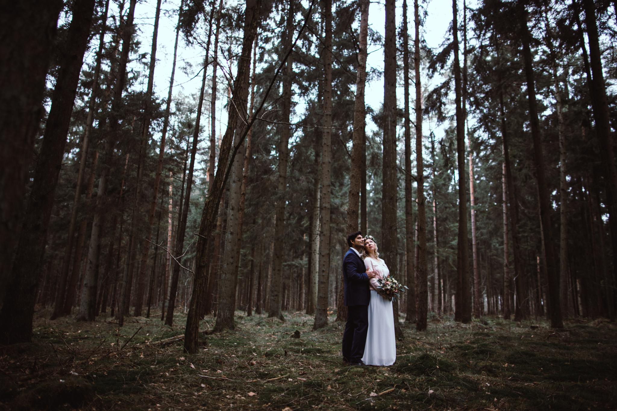 Brautpaar zwischen Bäumen im Wald