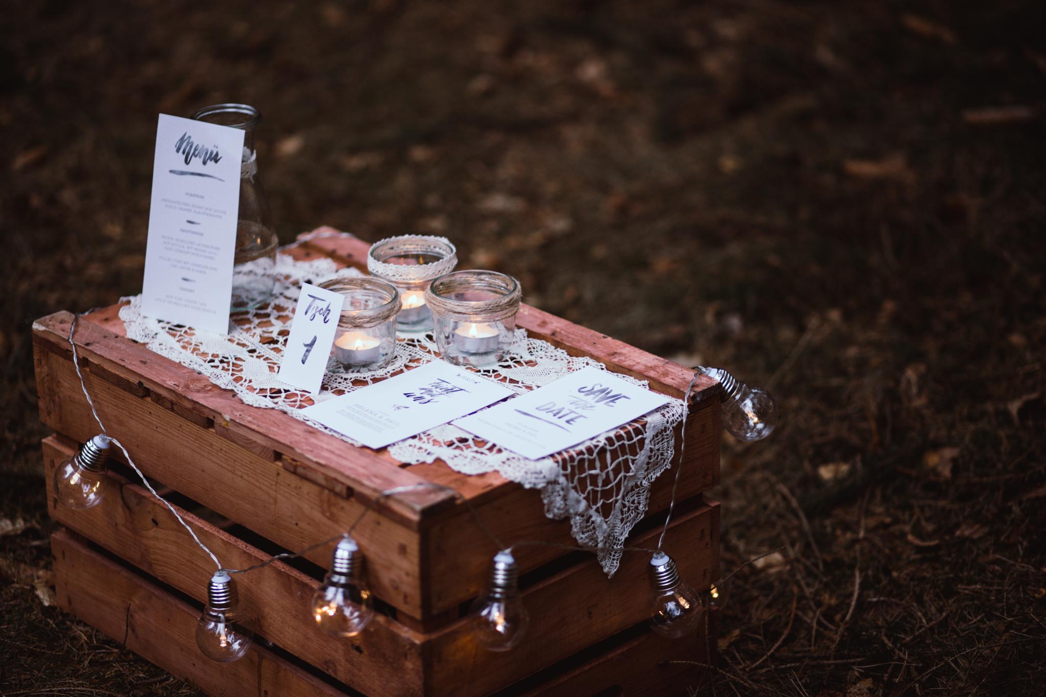 Deko Hochzeit Vintage Wald