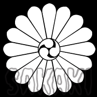 調神社 神紋 十六菊に三つ巴