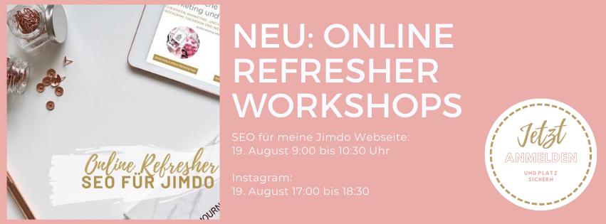 Refresher Workshops für Instagram und SEO für Jimdo. Jetzt online via Zoom bei Flowon Marketing in Hinwil bei Zürich.