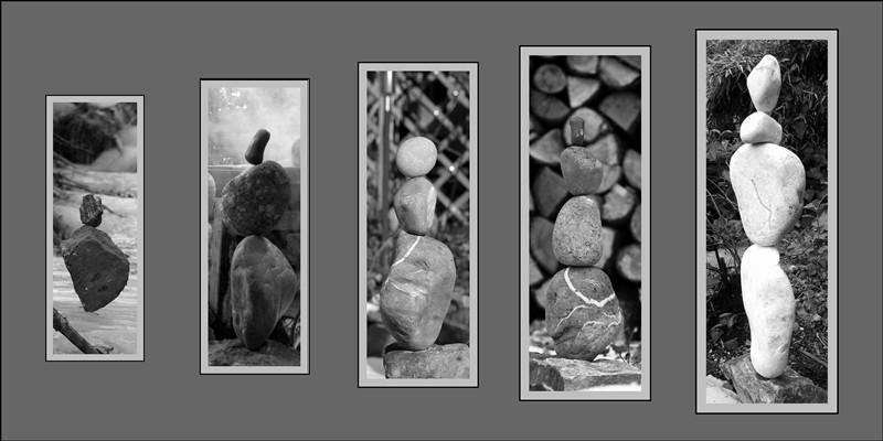 balancierte Steine (Steinturm) in Natur am Lagerfeuer im Fluss, Landart, Naturkunst, Steinkunst, von Andreas David, Steinbalance, Steintürme, Steine im Gleichgewicht ausbalanciert