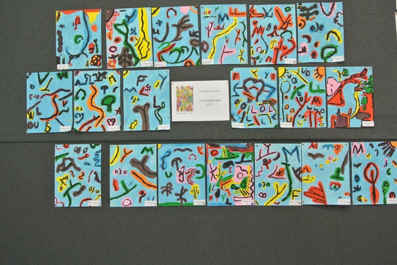 Celles des CE1 s'inspirant de Klee